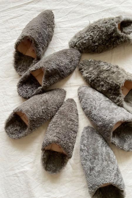Bronze Age Dalia Shearling Slides - Grey