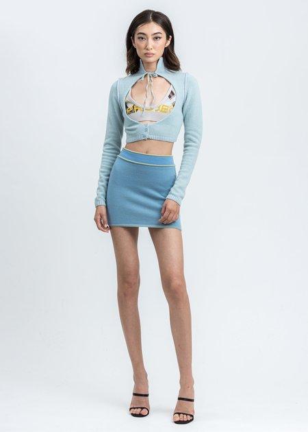 Danielle Guizio Knit Geo Cut Out Cardigan - Aqua