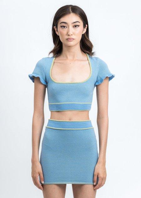 Danielle Guizio Scoop Neck Knit Top - blue