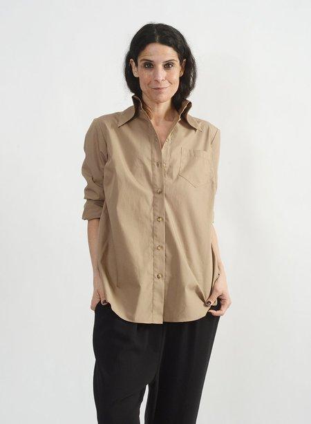 Meg Big Collar Shirt - Khaki