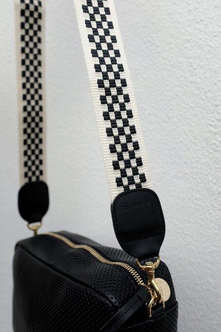 Clare V. Crossbody Strap Webbing Bag - Black/Cream Checker