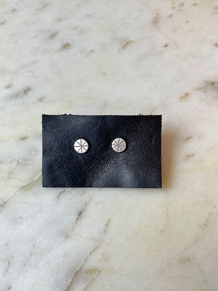 Jane Diaz Tiny Etched Star Studs - Sterling Silver