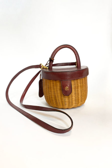 Vintage Etienne Aigner Wicker Basket Bag - natural/brown