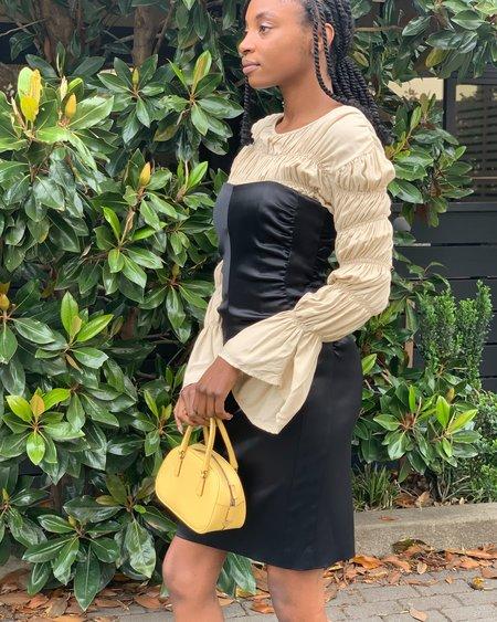 Vintage Satin Bustier Dress - Black