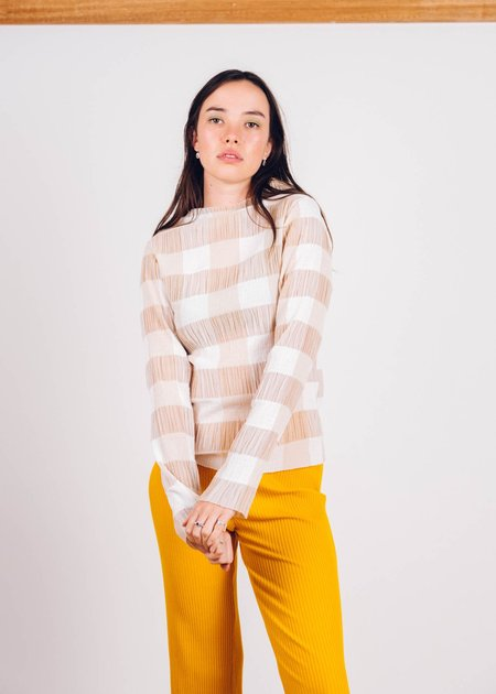 FME Apparel Checkered Shirring Skivvy top - Sand/White