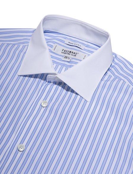 Freemans Sporting Club Dress Shirt - Blue Triple Stripe/White Collar