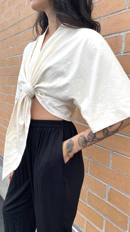athena newton designs Hemp & organic cotton bell sleeve summer top - ivory