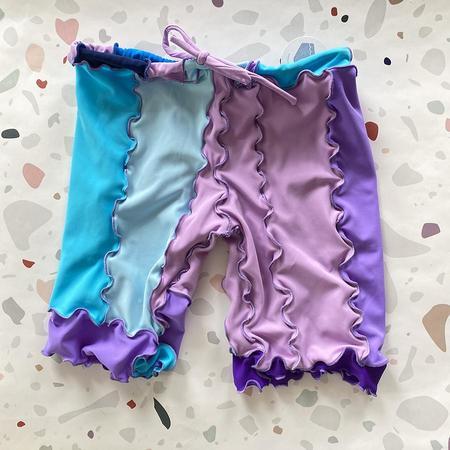 Sherris Ruffle Patch Swim Short - Lilac/Blue Patch
