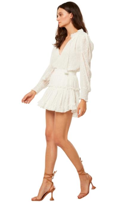Misa Los Angeles Marion Pearl Dot Skirt - White
