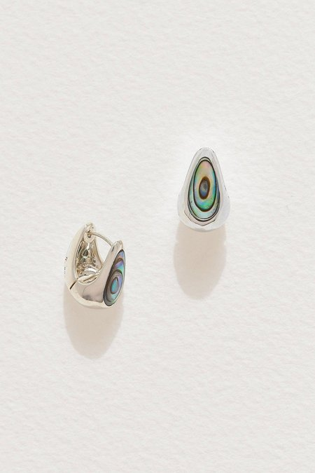 Pamela Love Inlay Hammered Hoops - Abalone/Sterling Silver