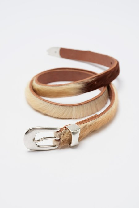 Our Legacy Hair On Hide Leather 2cm Belt - Natural