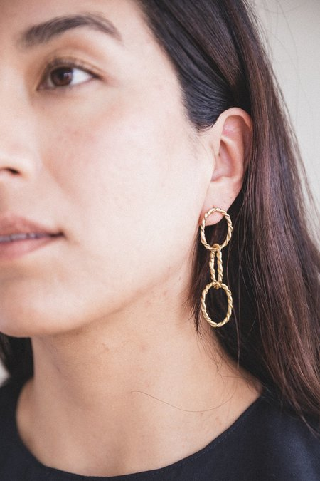 Another Feather ROPE CHAIN EARRINGS - BRONZE