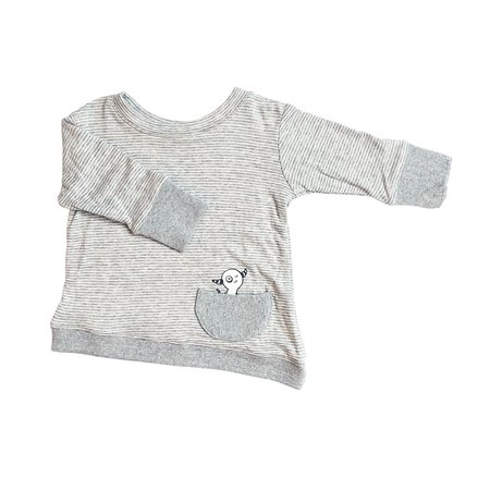 Kids Bass + Sass Asymmetric Pullover - Grey Skinny Stripes