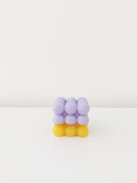 Ri-Ri-Ku Atom Cube Candle - Purple/Orange