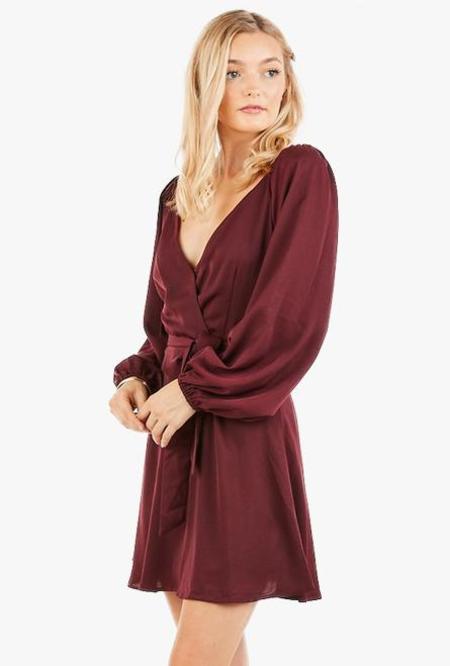 Azalea Callie Wrap Mini Dress - Wine
