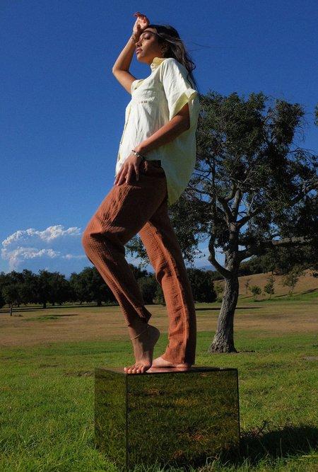 Azalea Evie Straight Leg Gauze Pants - Clay