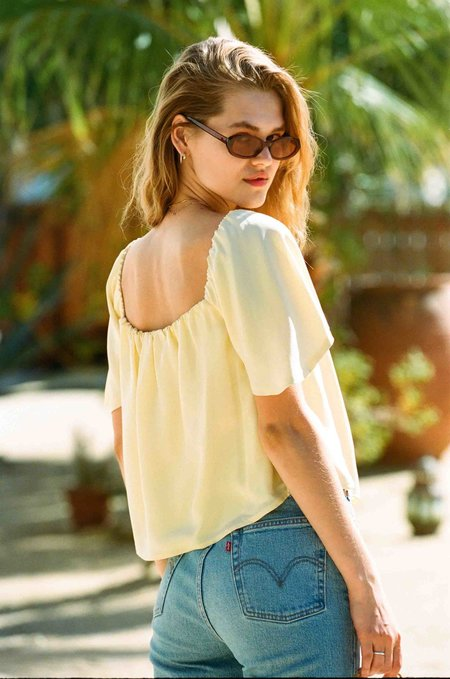 Merritt Charles Harlow Sik Top - Sunshine Yellow
