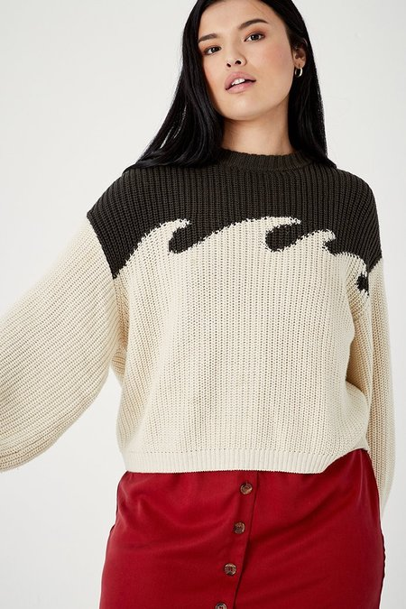 Back Beat Co. Organic Cotton Wave Sweater - Graphite/Natural