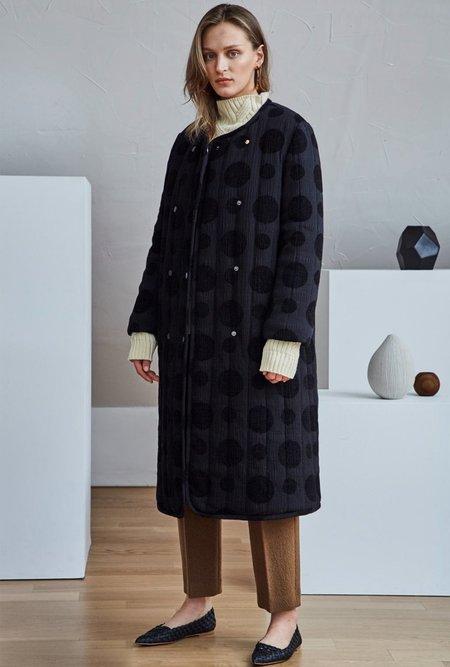 Maison De Ines Polka Dot Padded Coat - black