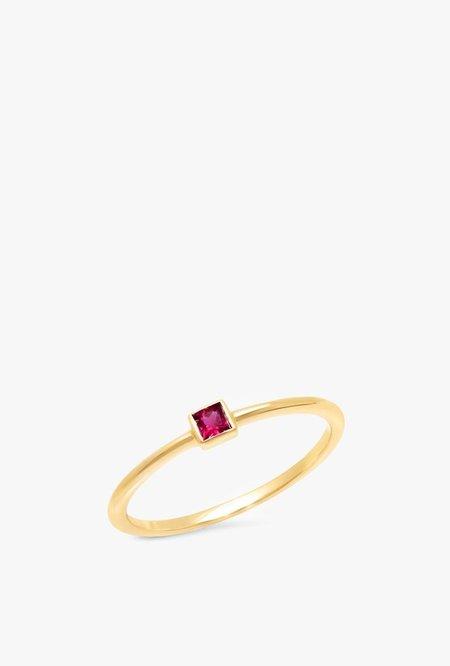Eriness Ruby Princess Cut Pinky Ring - 14kYG