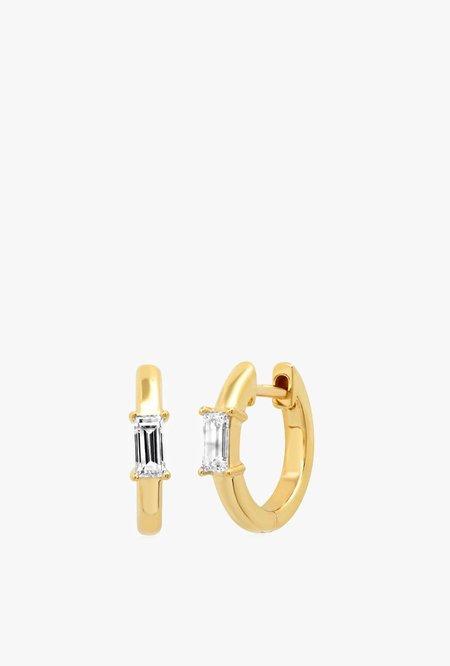 Eriness Stationary Diamond Baguette Huggie - 14kYG