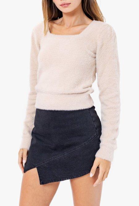 Azalea Tori Square Neck Fuzzy Sweater - Cream