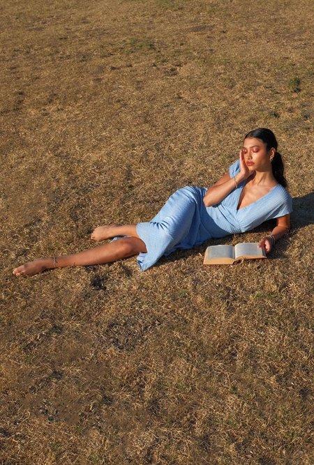 Azalea Mara V Neck Midi Dress - Blue