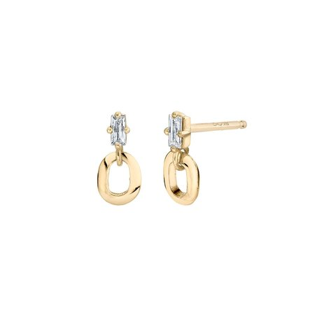 Lizzie Mandler XS Link and Baguette Studs - 18k gold