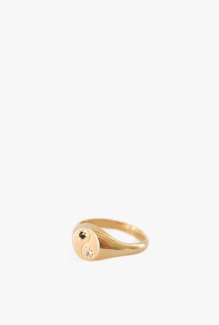 Merewif Yin+Yang Ring - Gold Plated Brass