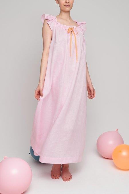 Eliza Faulkner Full Length Party Nightie - Pale Pink Linen