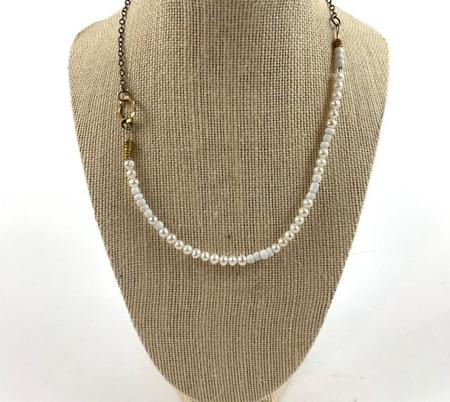 Farah Bean Beads & Larger Freshwater Pearls Necklace