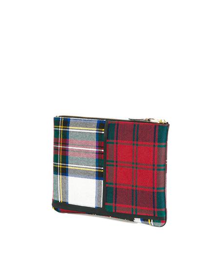 Comme des Garçons Tartan Fabric Clutch Bag Wallet - red