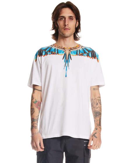 Marcelo Burlon Wings Print Crewneck T-shirt - white