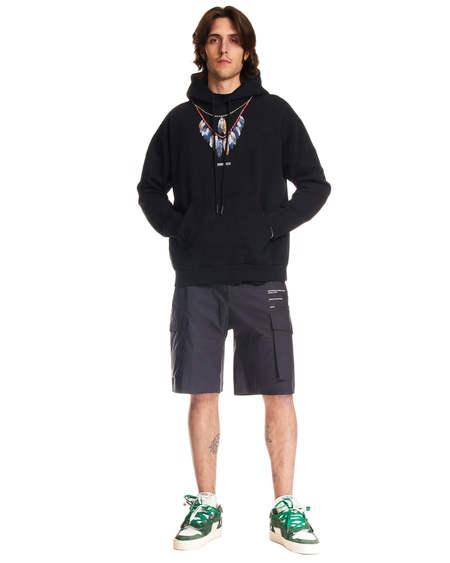Marcelo Burlon Feathers Print Hoodie sweater - black