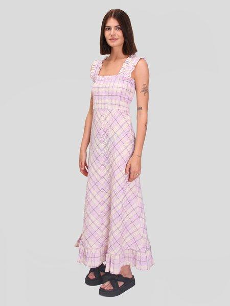 Ganni Seersucker Check Maxi Dress - Orchid Blossom