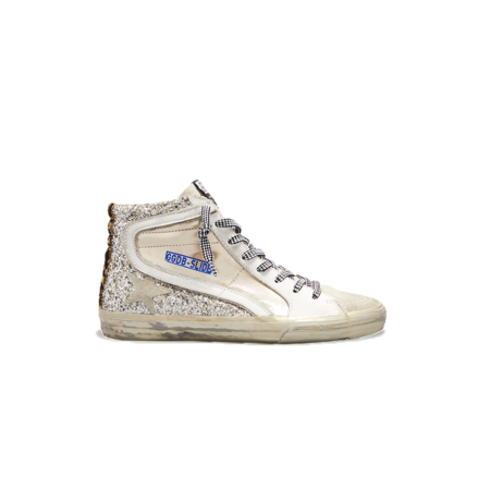 Golden Goose Slide Suede Toe Laminated and Glitter Quarterleather Sneakers - Gold/Ice