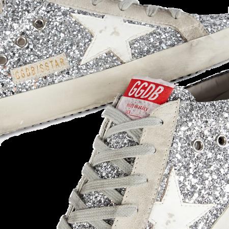 Golden Goose Super-Star Sabot Glitter Upper Leather Star Sneakers - Silver/White
