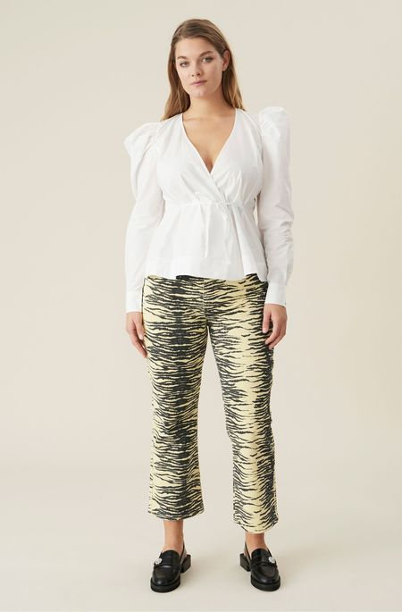 Ganni Kick-Flare Organic Cotton Jeans - Pale Banana