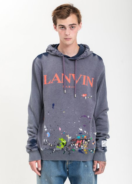 LANVIN Logo With Work Effect And Paint Marks Hoodie - Navy
