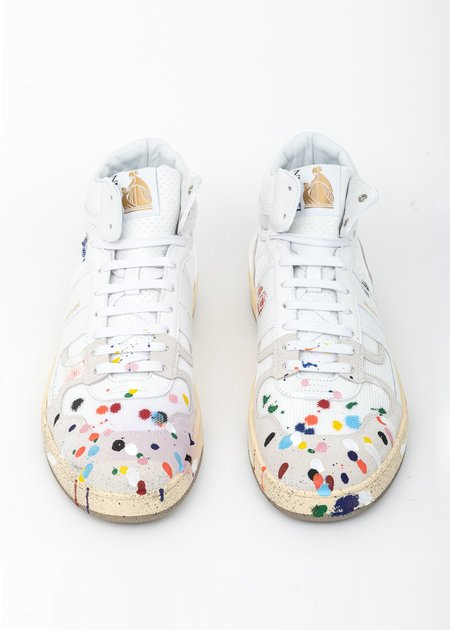 LANVIN Painted Mesh Clay High Top Sneaker - White
