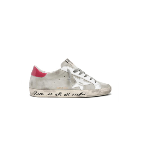 Golden Goose Super-Star Suede Upper Leather Star Patent Heel Sneakers - Ice/Light Red
