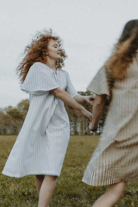 Conrado Tyde Kaftan Flounce Sleeve Dress - Blue/White Stripe