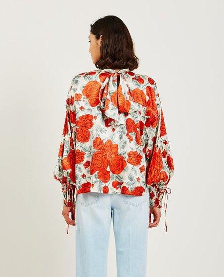 Ganni Silk Stretch Satin Oversized Blouse - Floral