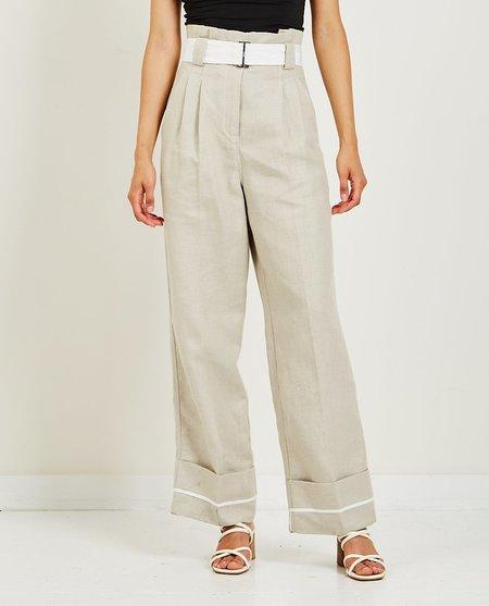 Ganni Linen High-Waisted Pant - Beige