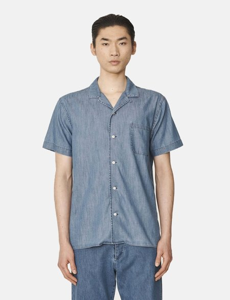 YMC Malick Denim Shirt - Indigo Bleach