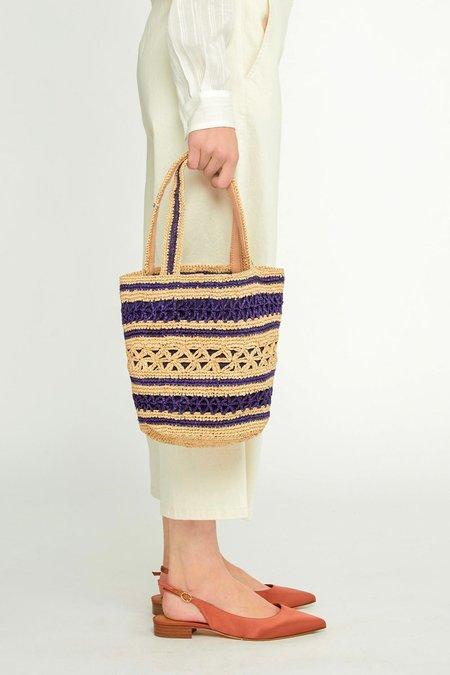 Vanessa Bruno Small Raffia and Cotton Basket - Navy