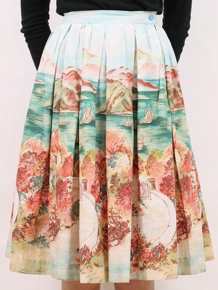 Vintage 50s cotton seascape party skirt