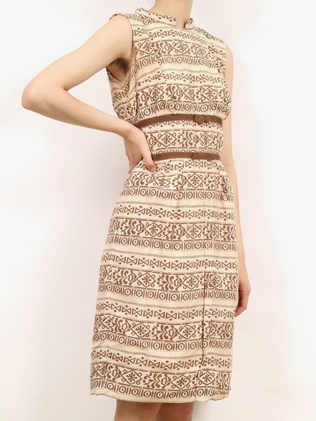 Vintage 60s printed dress with bows - cream