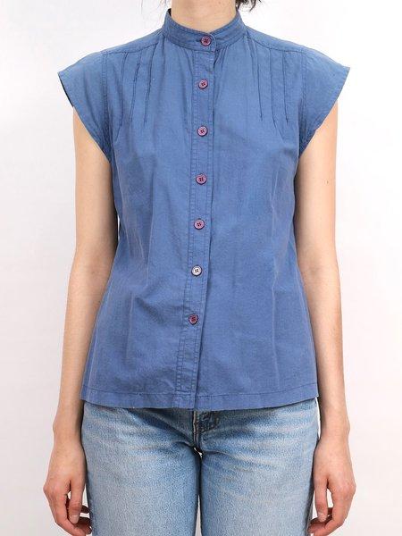 Vintage cap sleeve button down - blue