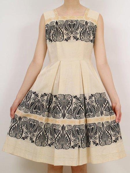 Vintage pleated dress - cream